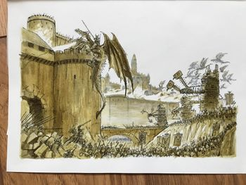 Chaos army besieging a castle with siege towers and dragons.jpg