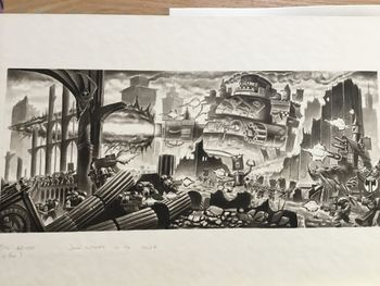 Ork Gargant and Squiggoth fighting Space Marines in broken cityscape.jpg