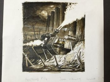 Hellhound Tank spewing fire under the walls of a castle.jpg