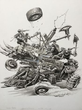 Ork Warbuggies crashing together Gorka Morka.jpg
